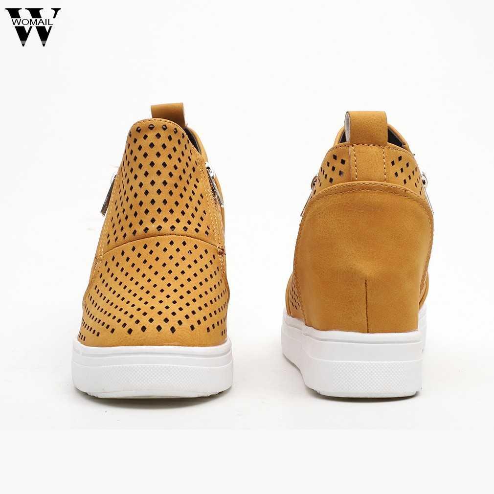 2019 moda platformu çizmeler kadın tabanı içi boş sonbahar fermuar ayak bileği düz yuvarlak ayak günlük çizmeler ayakkabı sıcak satış