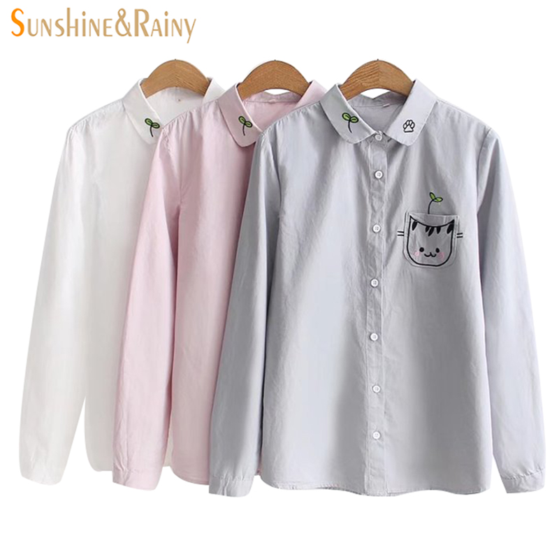 Female Cartoon Cat Embroideried Pocket Blouse Spring New Lapel Long Sleeved Shirt Women Clothing All Match Blouse Girl Coat
