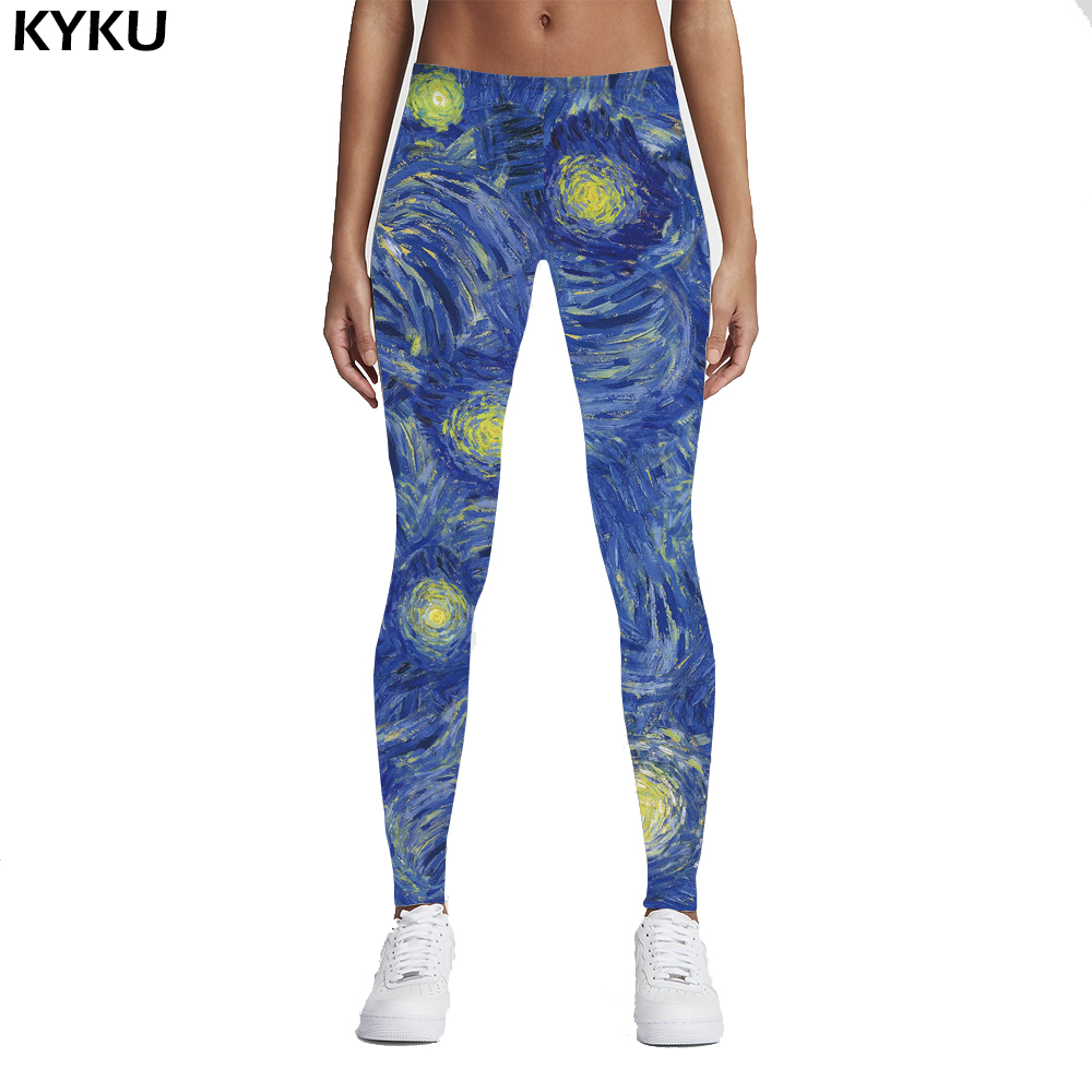 Fashion Galaxy 3D Print Leggins Van Gogh Starry Night Galaxy Print Women Leggings Woman Pants Blue Painting Jeggings Shiny Sexy