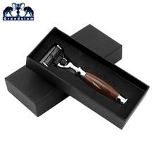 Grandslam Для мужчин руководство по безопасности бритья картриджи заправки резкое безопасности бритвы деревянная ручка + бритва стенд best Для мужчин Бритье подарок