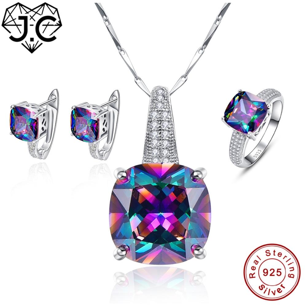 J C Engagement Women Men Rainbow Mystic Topaz Pendant Ring Earring Genuine Solid 925 Standard Sterling