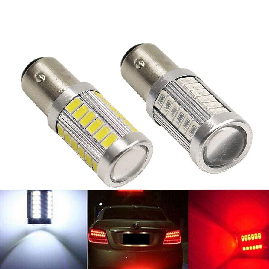 2 pces super brilhante 1157 bay15d p21/5 w led luzes de freio 5730 33smd carro auto traseiro estacionamento parar luzes bulbo vermelho/branco/amarelo 12 v
