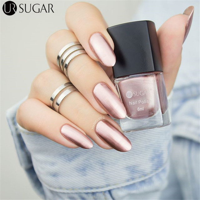 UR SUGAR Pink Silver Gold Metallic Nail Polish 6ml Colorful Metallic Nail Lacquer Mirror Effect Gorgeous Metal Nail Varnish