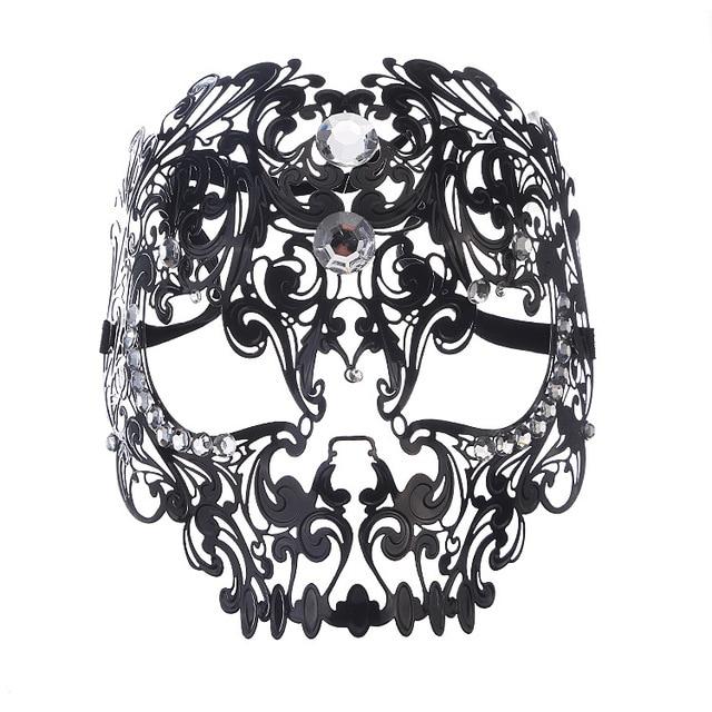 fcd7cd4b508a Diamond Ball Full Face Mask Metal Filigree Halloween Skull Rhinestone Mask  Venetian Costume Masquerade Tiger Head Makeup Mask