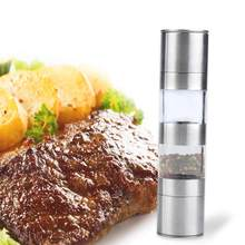 2 in 1 Manual Stainless Steel Kitchen Salt and Pepper Mills Grinder Muller High Quality(China)