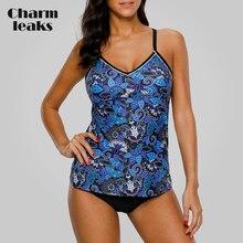 Charmleaks Women Tankini Set Swimwear Vintage Floral Print Swimsuit Back Cross Bikini Bathing Suit Beach Wear