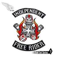 Ensemble de patch de broderie de cavalier libre indépendant fer sur biker punk grande applique moto bricolage patchs personnalisés pour veste de vêtements