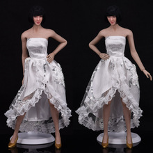1/6 Scale Ladies Wedding Dress Female Clothes White Evening Dress Banquet Skirt for PH Verycool HT Medium & Small Body Figur