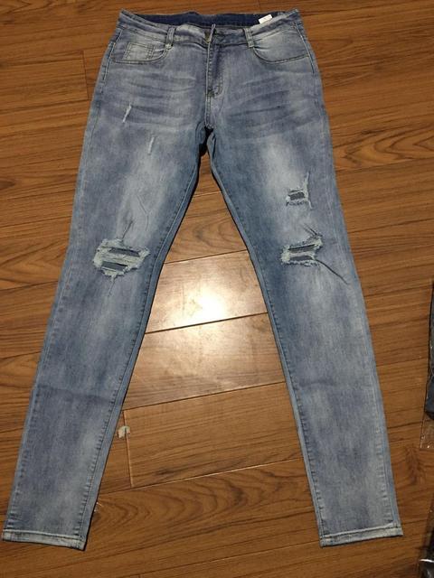 New Skinny Jeans men Streetwear Destroyed Ripped Jeans Homme Hip Hop Broken modis male Pencil Biker Embroidery Patch Pants 36