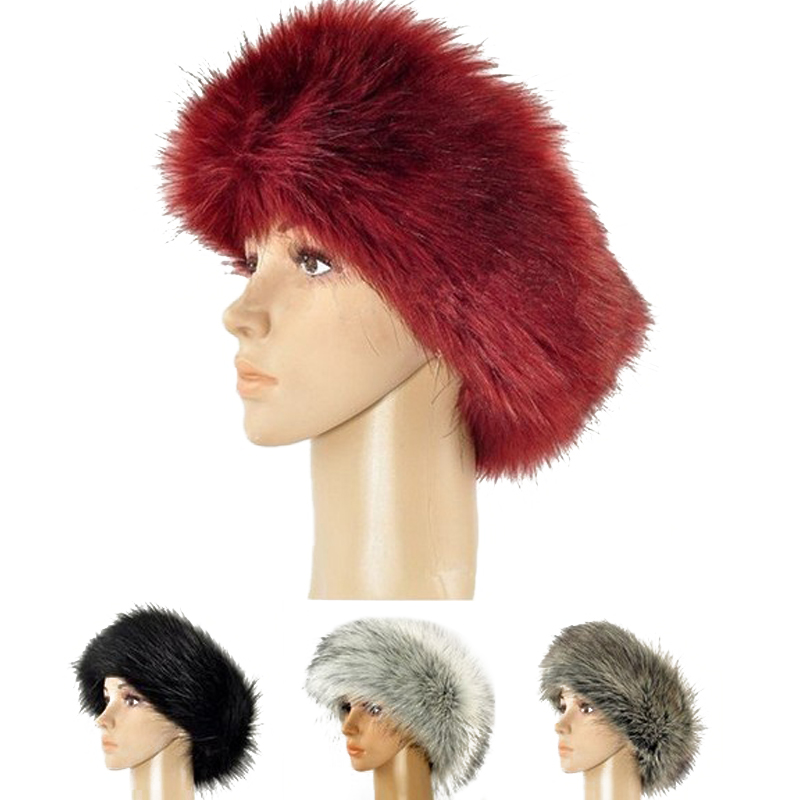 Russian Style Fox Faux Fur Headband For Women Winter Earwarmer Earmuff Hat Ski Headband Hat Fluffy Snow Cap