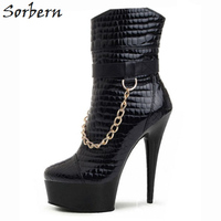 Sorbern Ankle Boots For Women Fashion Ladies Party Shoes Platform Shoes Woman Boots With Heels Fashion B