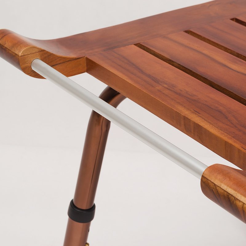 Solid Teak Wood Stool Bench With Aluminum Alloy Legs Shaving Shower ...