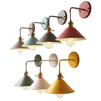 Yuenslighting 마카롱 색 로프트 스타일 실내 현대 led 벽 램프 sconce 철 침대 옆 벽 조명 식사 침실 복도