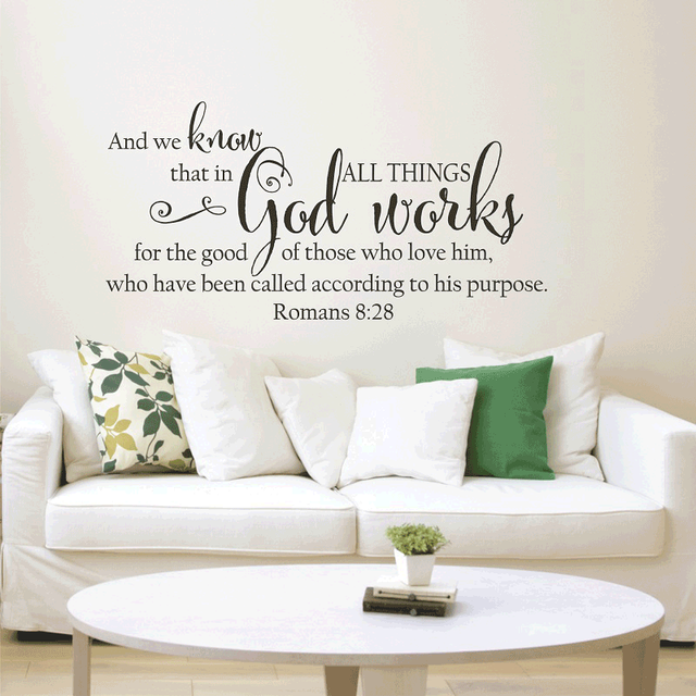 Romans 8:28 Bible verses Spanish vinyl wall stickers Christian living room bedroom wall stickers decorative wallpaper 2SJ4