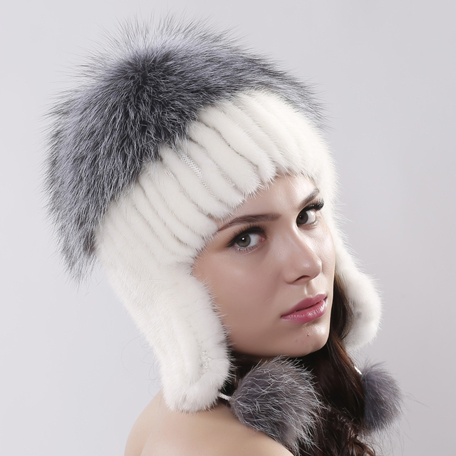 Women Ear Erotector Bomber Hat For Girls Real Knitted Mink Fur Caps With Silver Fox Fur Winter Warm  Beanies Cute Pom Poms