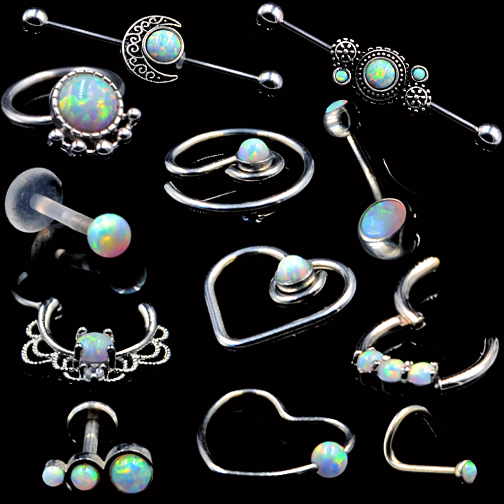 1pc Lacey Opal Hinged Septum Clickers Titanium Shaft Pierced Round Nose Rings Pi