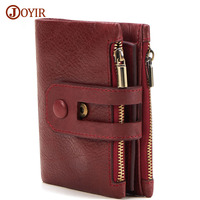 JOYIR Unisex Wallet Women Men Leather Genuine Vintage Coin Purse Zipper Men Wallets Small Perse Solid