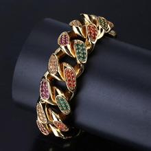 Color Mens Zircon Curb Cuban Link Bracelet Hip Hop Jewelry Gold and Silver Thick Copper Material Chain 7 / 8 Inches