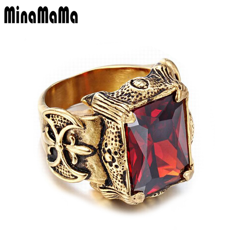 Mens Jewelry Stainless Steel Seal Style Gold Color Shining Big Crystal Rings For Women M ...
