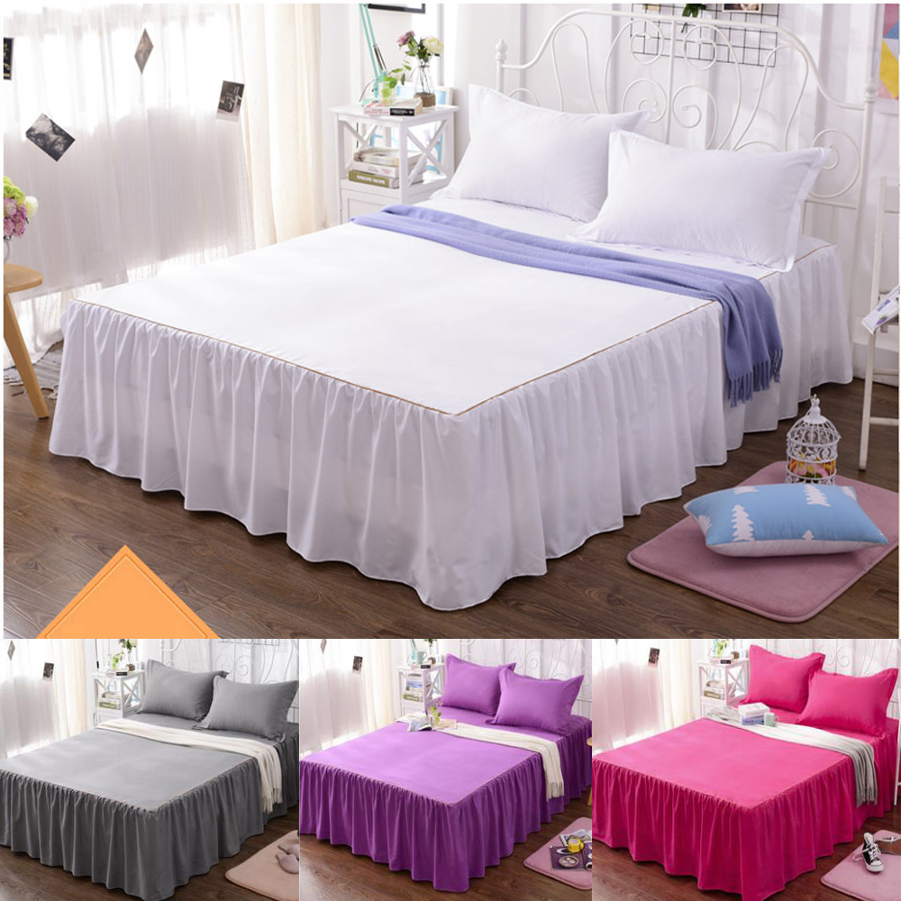 solid color bed skirts bed sheet set cotton blend bedding set pillowcase full queen size. Black Bedroom Furniture Sets. Home Design Ideas