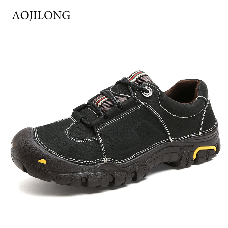 Classic Men's Waterproof Hiking Shoes Antiskid Hunting Comfortable Trend Sneakers For Male Leather Flats Climbing Shoes