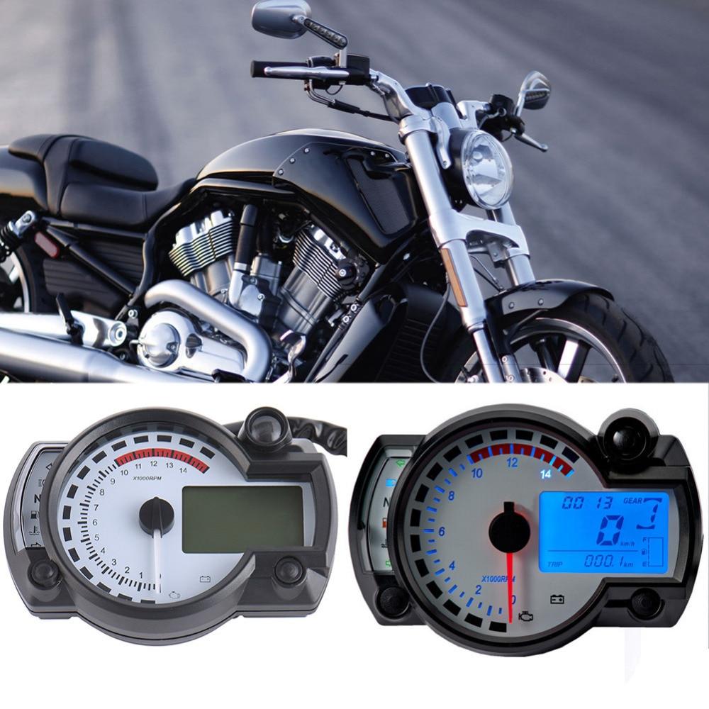 Motorcycle 15000rpm LCD Digital Speedometer Odometer Clock Tachometer Black Motorbike Fuel Meter Water Temperature Gauge