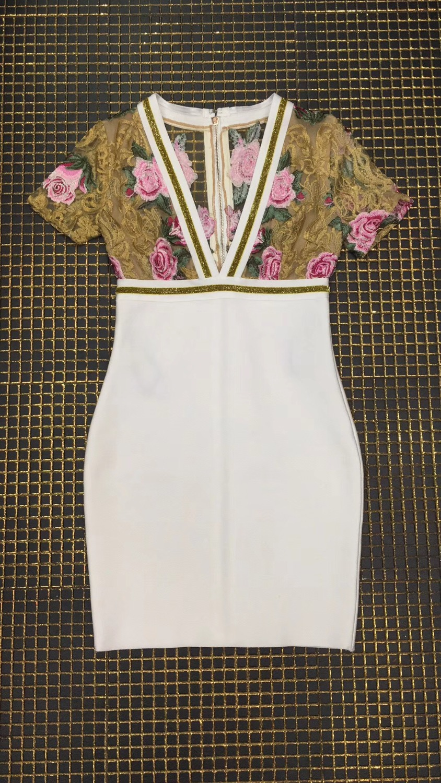 2018 Qualité Designer Top Bandage Celebrity Robes Sexy Robe Mode Cou Rayonne De Floral V dT8Tq
