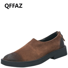 QFFAZ Men Casual Shoes Zipper dress men shoes Cow Suede men leather loafers Oxfords winter mens shoes casual wedding shoes