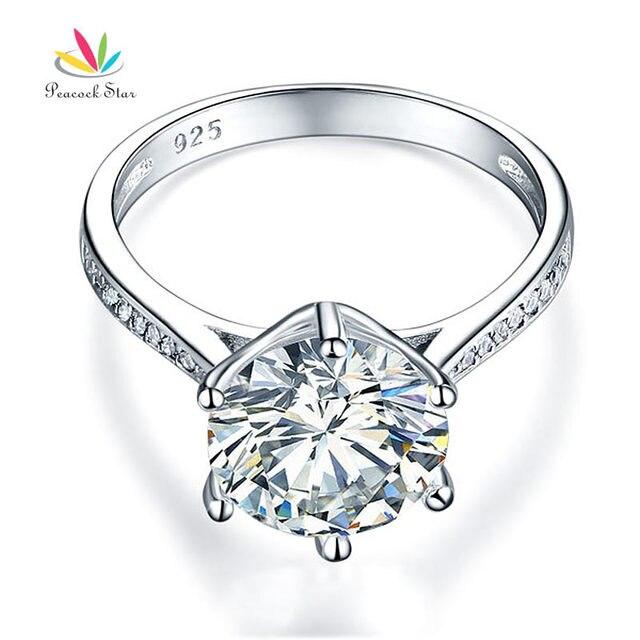 Pavone Stella Solido Argento 925 Anniversario di Matrimonio Anello di Fidanzamento 3 Carati Gioielli CFR8209