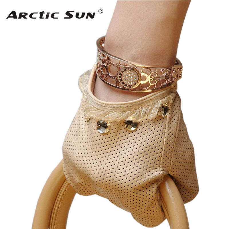 NEW 2020 Women Genuine Leather Gloves Spring Thin Unlined Fashion Elegant Lady Sheepskin Glove Wrist Lace Breathable L006N
