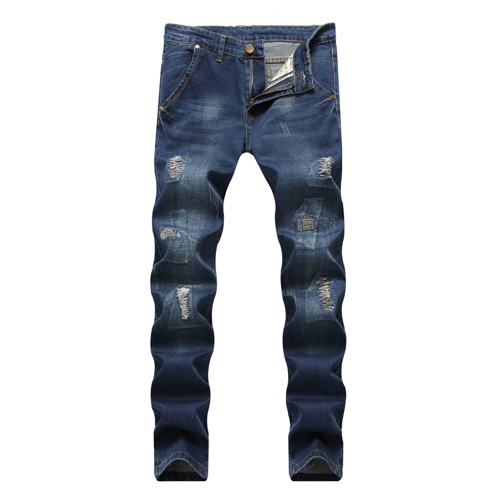 New Retro Fashion Ripped Jeans Europe Funky Hole Patches Distressed Jeans Slim Fit Straight Leg Rock Jeans Hot Sale Dropshipping
