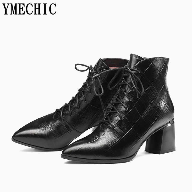 YMECHIC Mode Plaid Leder Lace Up Ankle Stiefel für Frauen Plus Größe Chunky Ferse Spitz Booties mit Zipper Frauen schuhe