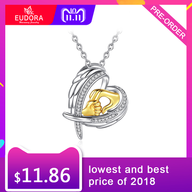 Eudora Authentic 925 Sterling Silver Angel Wings Heart Pendant Necklaces Fashion Gold Hand in Hand Fashion Jewelry for Women eudora authentic 925 sterling silver evil eye pendant necklace vintage retro fashion jewelry for women men party accessories