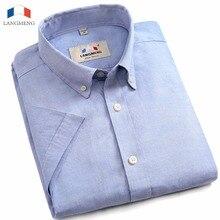 Langmeng 5XL 100% baumwolle männer shirt kurzarm casual shirts mann camisa masculina herren social dress shirt camisas hombre