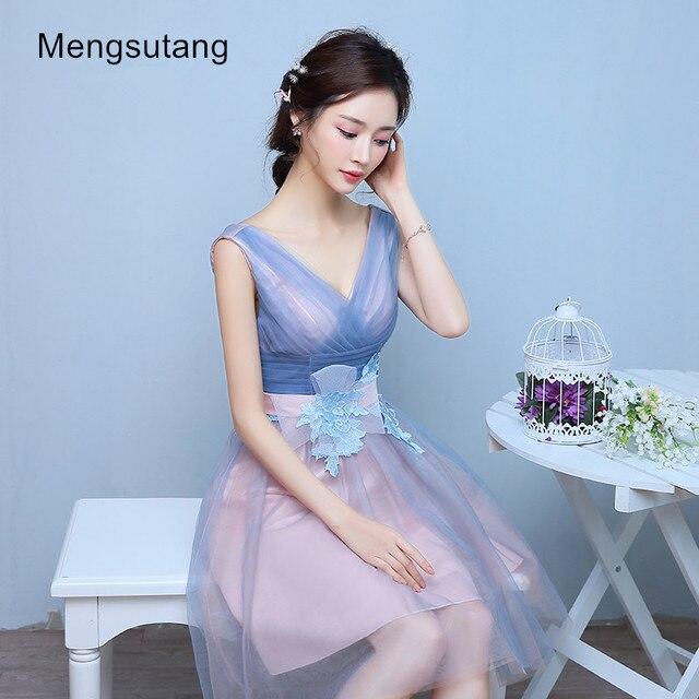 2017 hot sale grey V neck short formal dress spring lace up bride ...