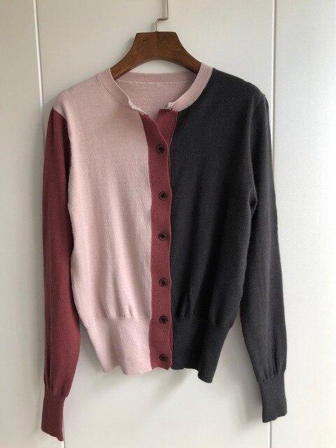 Cárdigan de tres colores 2019 otoño e invierno, nuevos modelos de temperamento, cárdigan tejido de manga larga, suéter de mujer