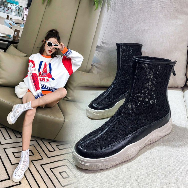LAIGZEM SEXY Women Ankle Boots Mesh Breathable SUMMER Boots Flat Thick Bottom Botas Feminina Bottes Femme Small Big Size 32-46 (5)