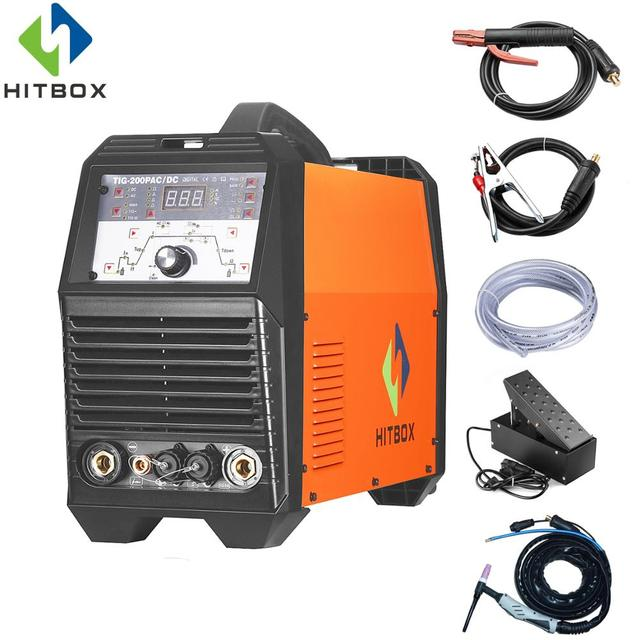 HITBOX Acdc TIG200P Tig Welder Arc Welding Machine Aluminum Tig Welder With Foot Pedal And Accessories
