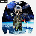 2016  Men/Women Brand Hoodies 3d Skull Pokemon Smoking Woman Space Cat Print Sweatshirts European And American Fashion Style