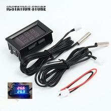 "0.56"" Red+Blue Dual Display Digital LED Thermometer Temperature Meter Waterproof Metal Probe Sensor Module -20~100 Celsius"