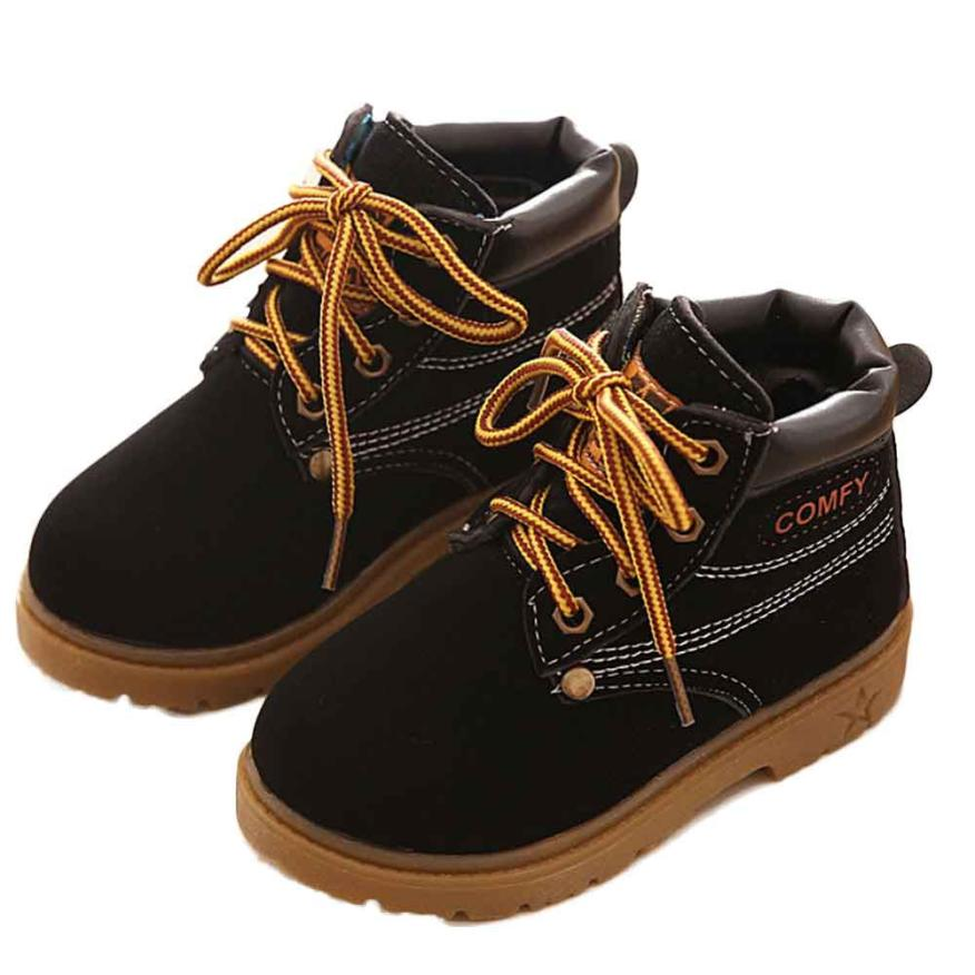 Childrens Boys and Girls Shoes Lace-Up Fleece Martin Sneakers Boots Childrens Baby Casual Shoes