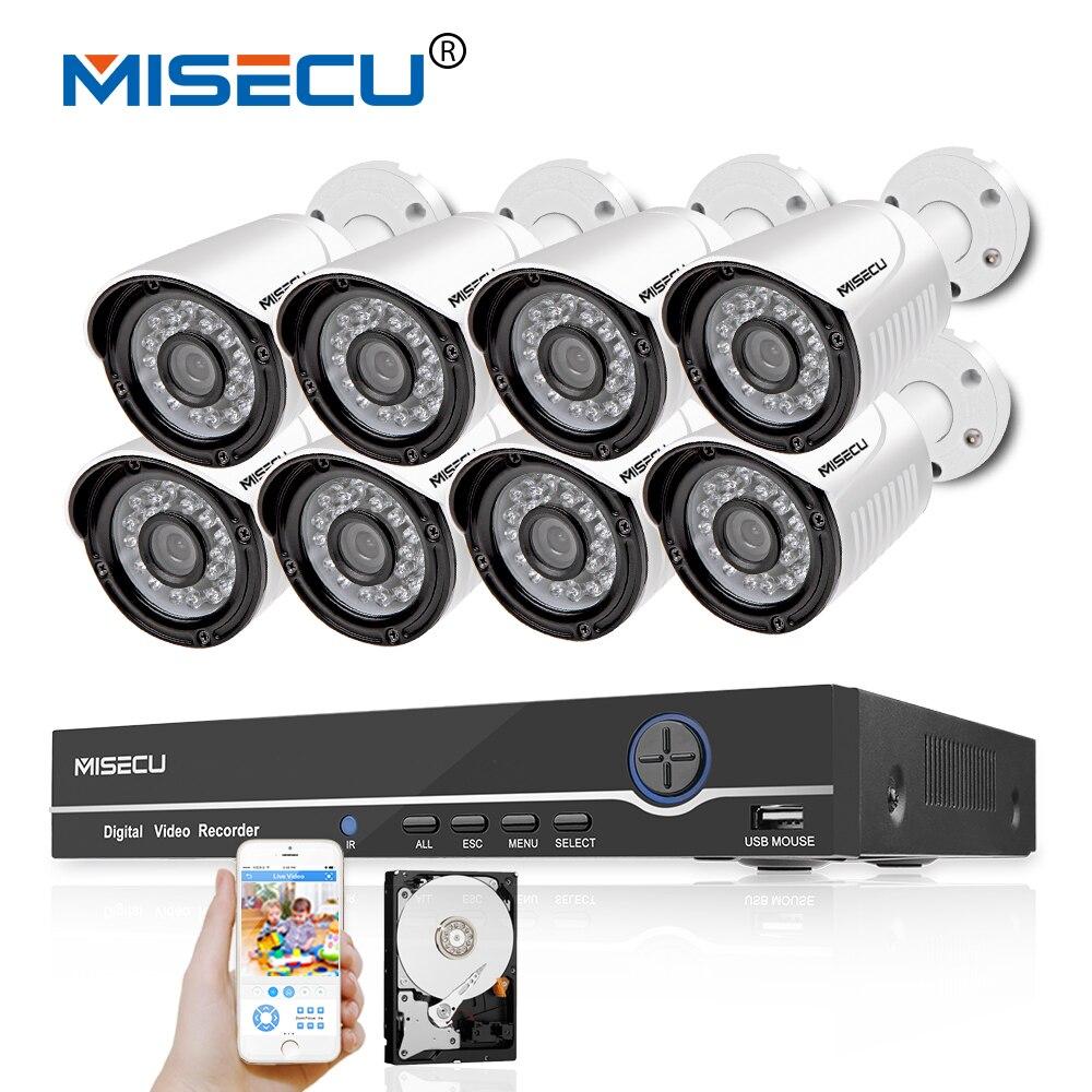 MISECU Full HD 8CH 1080P POE NVR 48V PoE 1080P Camera P2P Metal Onvif Surveillance IR