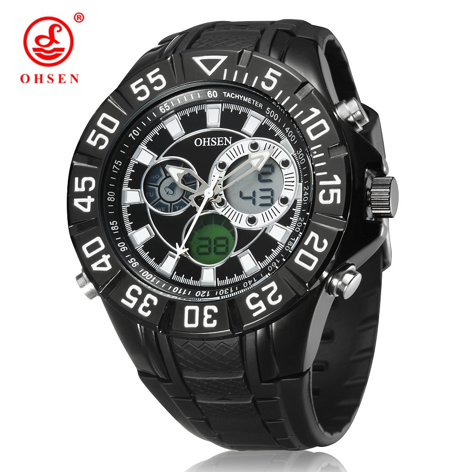 GuangZhou ST Watch  Jewelry Co.,Ltd OHSEN Men's Military Sports Watches Analog Digital Dual Time Backlight Alarm Day Chronograph Quartz Watch Rubber Band Wristwatch