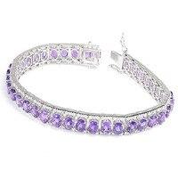 Натуральный аметистовый браслет из стерлингового серебра 925 пробы, женские роскошные фиолетовые Кристальные украшения, подарок на день рож