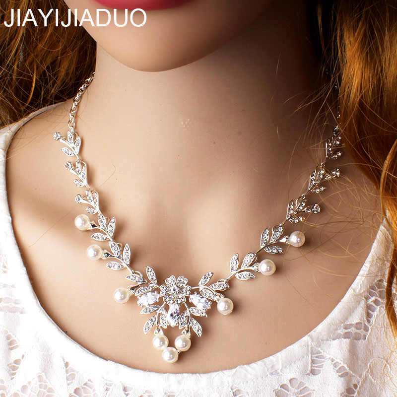 jiayijiaduo  Fashion Crystal Necklace for Women's Wedding Dresses Jewelry Gifts Silver Color Chokers Necklace dropshipping new