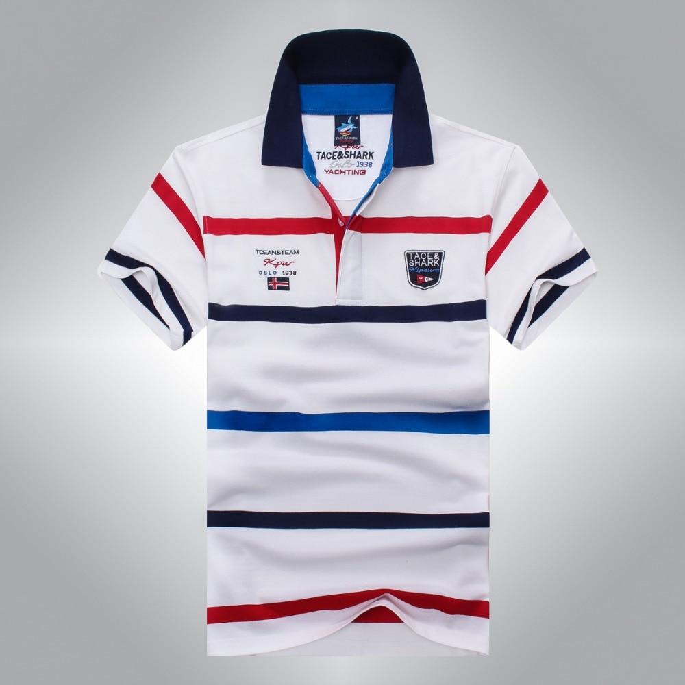 2016 Mode Business Polo Shirt Männer Marke Tace & Shark Polo Hemd Sommer Stil Gestreiften Baumwolle Der Männer Polo Hemd Mode Kann Wiederholt Umgeformt Werden.