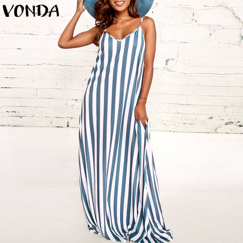 bd3a00d4b7aaff8 VONDA Для женщин в полоску Макси платья 2018 летняя Повседневное  Сексуальная V шеи без бретелек рукавов