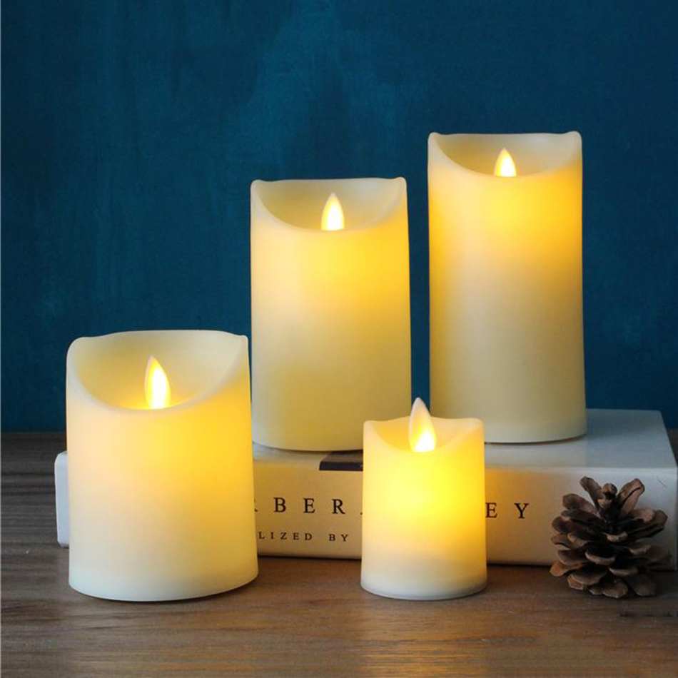 Flameless Plastic Led Pillar Candle Light For Wedding Birthday Club Outdoor Activities Decor Lovely Night
