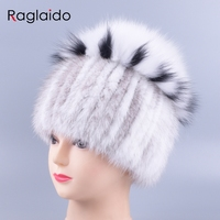 Natural fur hat Real Fur knitted Mink Hats for Women winter beanie caps pompom floral female girls hats of a skull cap LQ11267