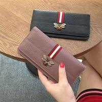 Brand Genuine Leather Women Purse Fashion Cow Leather Zipper Long Women Wallet Clutch High Quality Card Pocket Standard Wallet